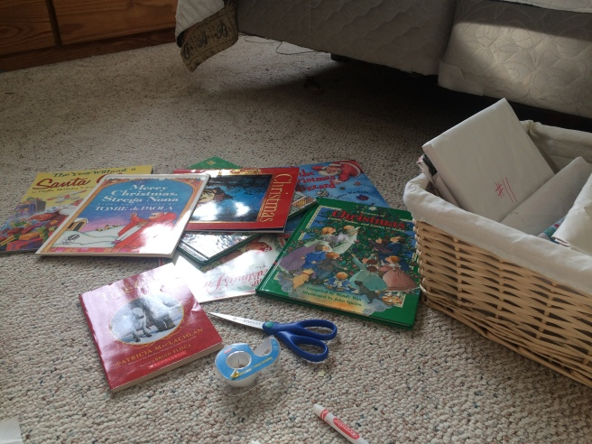 wrapping Christmas books