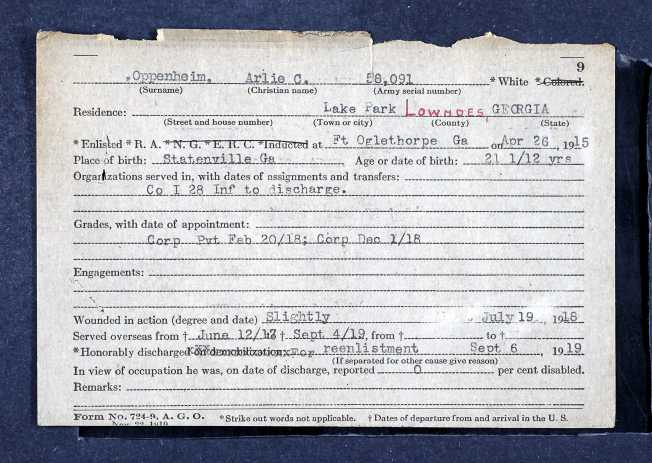 Arlie Oppenheim military service record (1)